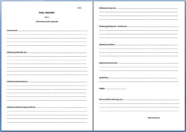 Arkusz oceny opisowej