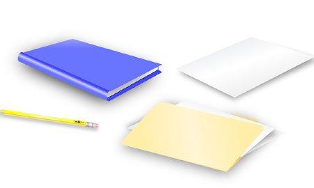 zeszyt, teczka biurowa, ołówek