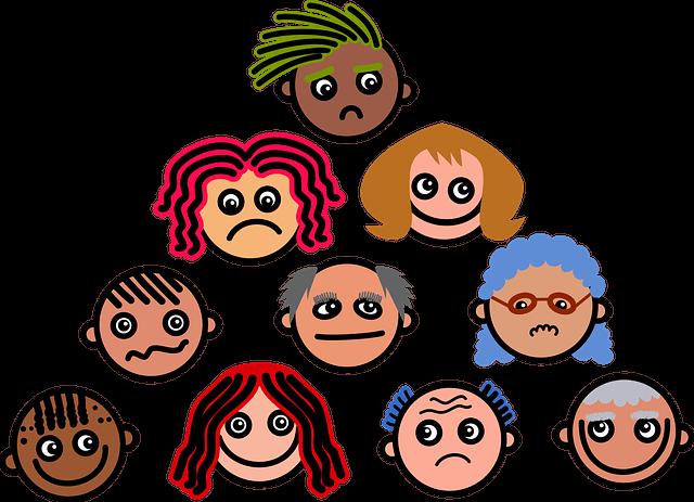 twarze dzieci z różnymi emocjami