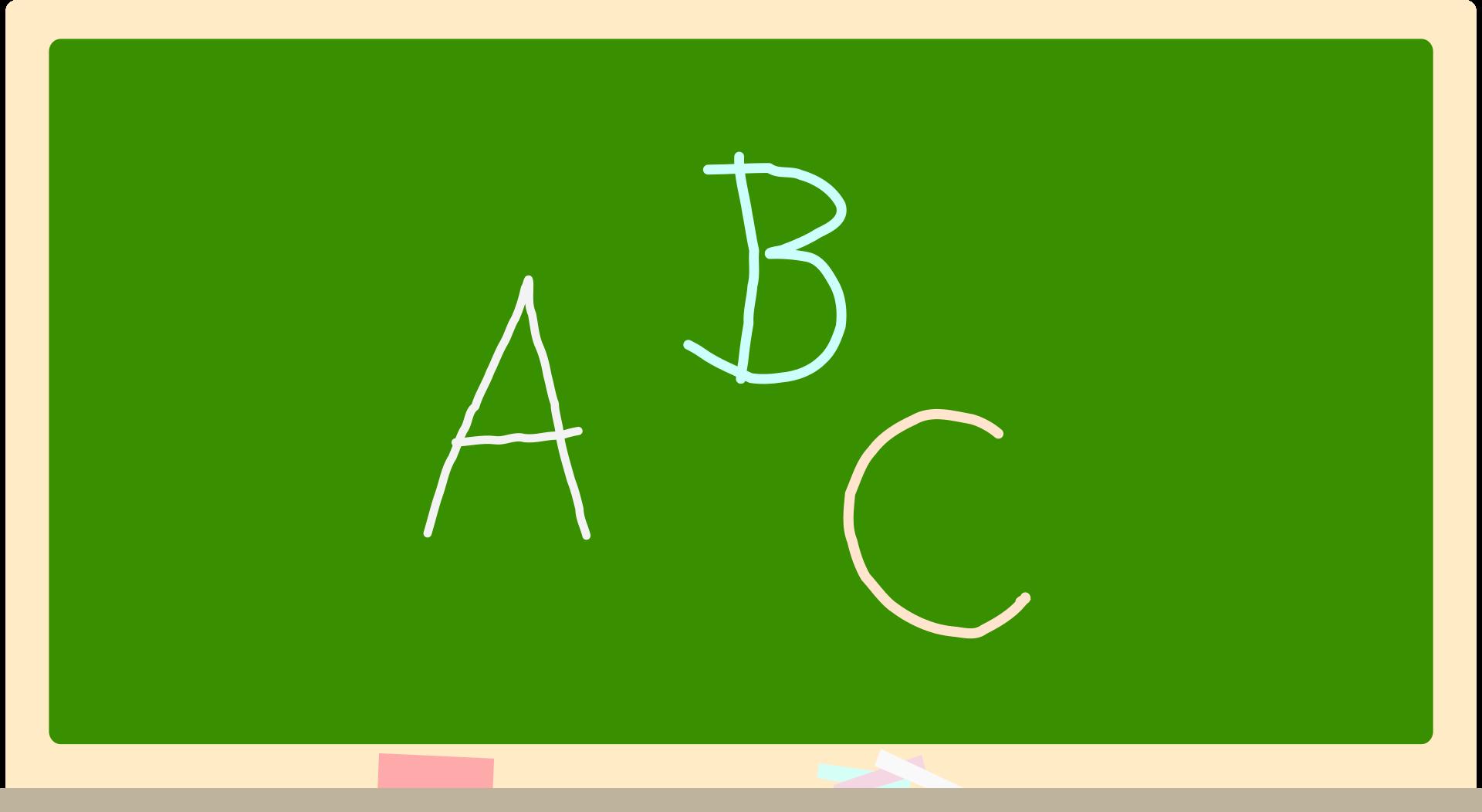 Zielona tablica szkolna a na niej litery: A B C
