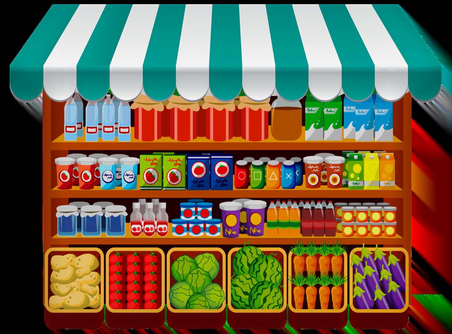 stoisko z warzywami i produktami spożywczymi