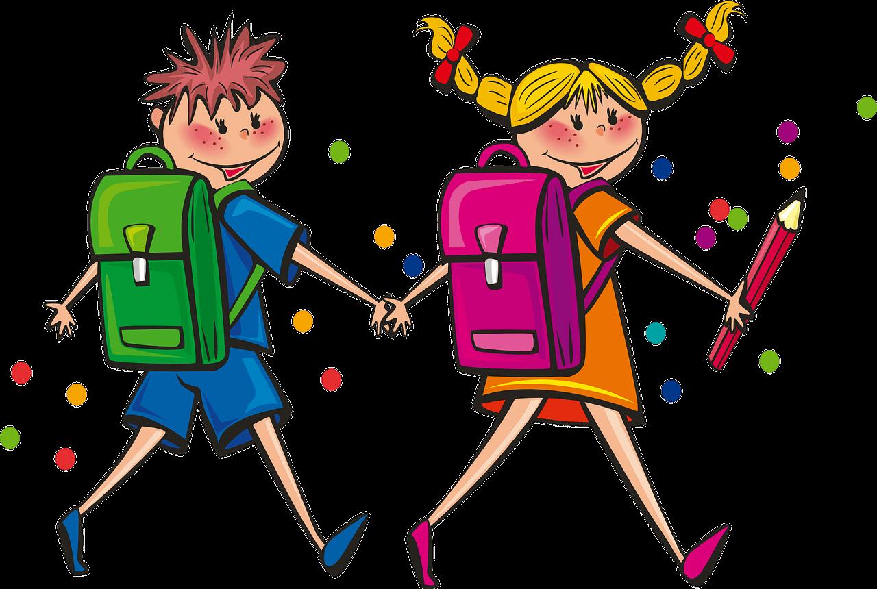 Chłopiec i dziewczynka z plecakami idą do szkoły trzymając się za ręce.
