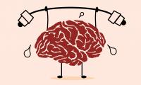 Grafika przedstawiająca mózg, który podnosi sztangę